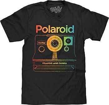 Tee Luv Polaroid Camera Shirt - Polaroid OneStep Instant Graphic T-Shirt  Black   XL