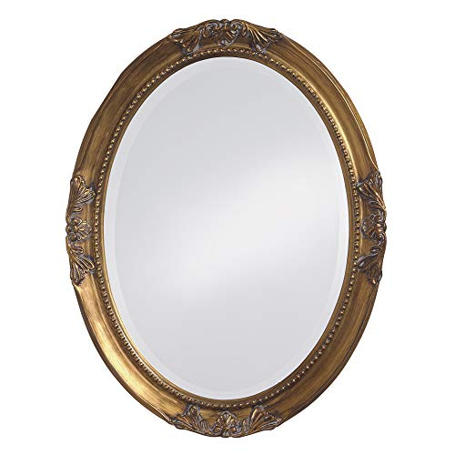 Howard Elliott Queen Ann Oval Antique Gold Leaf Mirror