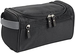 Somotoos Men's Waterproof Hanging Bag Nylon Travel Organizer Cosmetic Bag Necessaries Case Wash Toiletry Bag(Black)