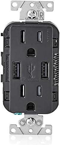 Outlets 1-Pack 15-Amp Black New USB Charger/Tamper-Resistant ...