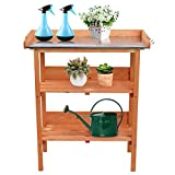 LIFND Outdoor Garden Potting Bench, Wooden Workstation Table w/Metal Tabletop, Potting Bench Table w/3 Tier Shelves, Open Shelf, Storage Shelves for Indoor and Outdoor w/Hook (US Inventory)
