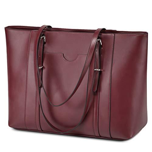 Laptop Tote Bag for Women, Vaschy PU Leather Water Resistant Handbag for Travel, Work, School Teacher Shoulder Bag Fits 15.6 inch Laptop (Burgundy)