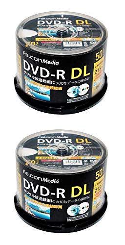 FalconMedia 1回録画用 DVD-R DL CPRM 215分 50枚 ホワイトプリンタブル 片面2層 2-8倍速 BE071x2個セット