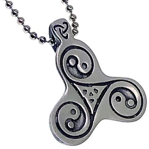 Triskelion Triskele Triquetra Celtic Yin Yang Trinity Pewter Unisex Boy's Men's Pendant Necklace Wealth Lucky Charm Protection Amulet Safe Travel Warrior Talisman For Men boys w Silver Ball Chain