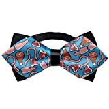 Men's Pre-Tied Bowties Polyester Adjustable Bow Tie, Tuxedo Creative Meat Lovers Bow Ties