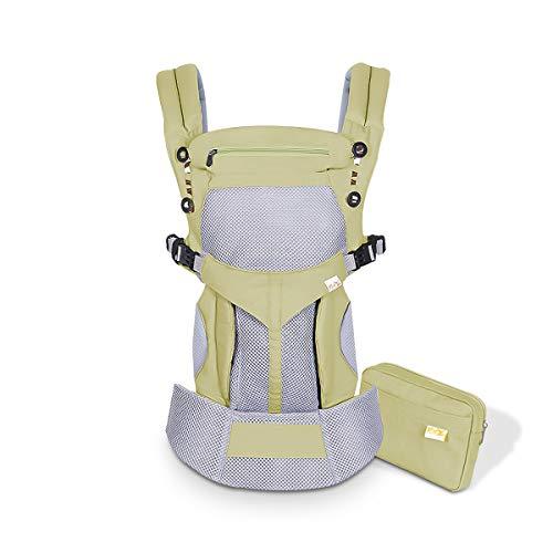 SONARIN Mochila portabebé Transpirable Premium,Ergonómica,capucha de dormir,para recién nacidos y bebés(3-48 meses),carga máxima 20 kg,Soporte para la Cabeza,Marsupio portabebé(Verde)