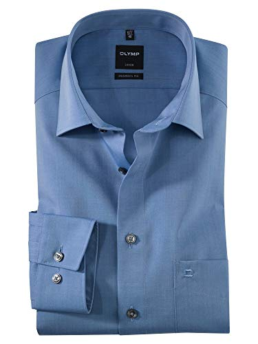 OLYMP Herren Oberhemd Langarm Luxor,Uni,modern fit,New Kent,Blau 15,43