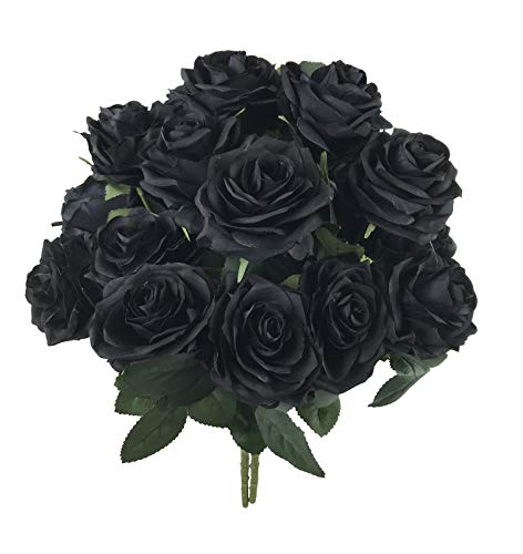 DALAMODA Artifcial Flower Black Roses Rose Bush Flower for DIY Any Bouquet Decoration Artificial Silk Flower,Gift Flower(Pack 2pcs Black)