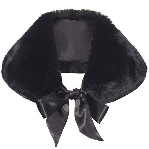 Coucoland - Sciarpa da donna in pelliccia sintetica Gatsby anni 1920s, accessorio per matrimonio o sposa con nastro di raso e spalla, coprispalle da donna in pelliccia sintetica Nero Taglia unica
