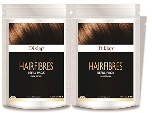 Diklap Hair Building Fiber Refill (Hair Concealer) Dark Brown Pack of 2 (100gm) Use For Caboki, Toppik, Looks 21,Rebuild Hair Fiber etc.