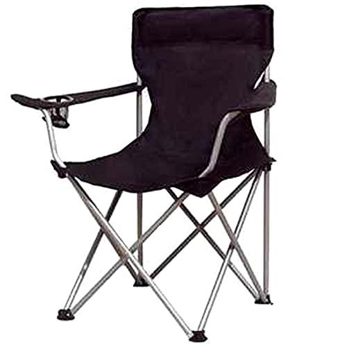 YTBLF Silla de Camping portátil, sillas Plegables con reposabrazos y portavasos para Pesca al Aire Libre, Senderismo, Playa, Negro