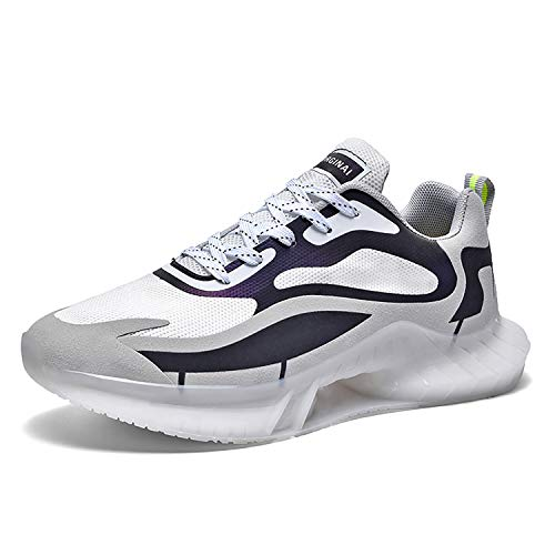 Phefee Zapatos de tenis transpirables para hombre, para correr, para caminar, para caminar al aire libre, color Blanco, talla 42.5 EU
