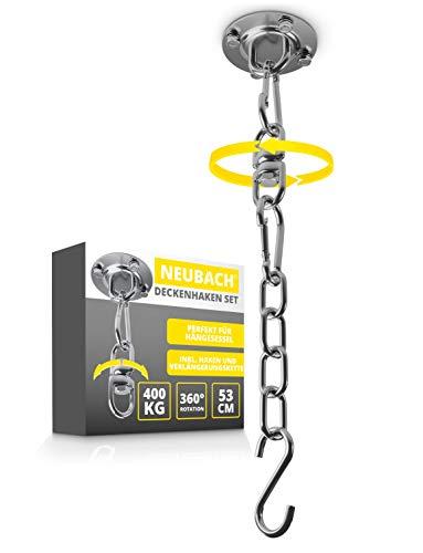 NEUBACH® Deckenhaken - Hängesessel Aufhängung bis 400kg - 360° drehbare Deckenhalterung - Komplett-Set inkl. Verlängerungskette, Karabiner und Haken
