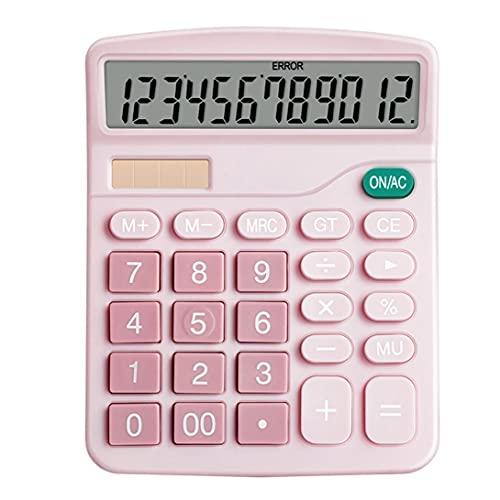 calculadora de escritorio, función estándar electrónico básico grande de 12 dígitos Pantalla LCD grande del botón calculadora, para Daily Oficina rosa, pluma de la pluma,