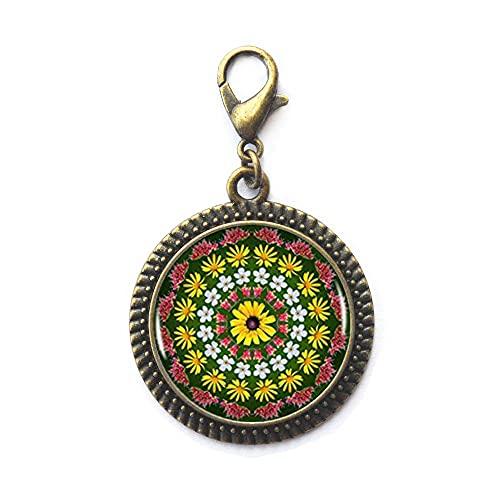 Tirador de cremallera con diseño de mandala de flores silvestres, regalo inspirador, joyería inspiradora, cierre de yoga, regalos de yoga, joyería de mandala, Namaste, meditación-JV343