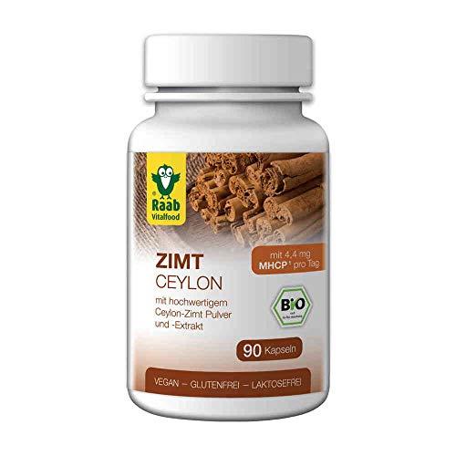 Raab Vitalfood, hochwertigem Bio Ceylon-Zimt Pulver und-Extrakt, enthält den sekundären Pflanzenstoff MHCP (1x90 Kapseln), braun, Estandar, 90