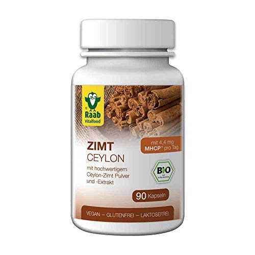 Raab Vitalfood, hochwertigem Bio Ceylon-Zimt Pulver und-Extrakt, enthält den sekundären Pflanzenstoff MHCP (1x90 Kapseln), Schwarz, Estandar, 90