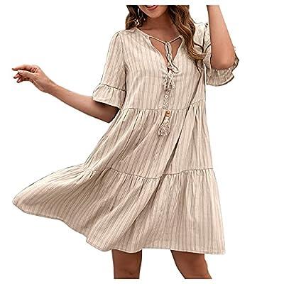 Amazon - Save 80%: Jesaisque Women Summer Dresses Short Sleeve V Neck Casual Loose Flowy…