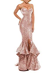 Rose Gold Sequin Prom Gown Mermaid Bodycon Dress