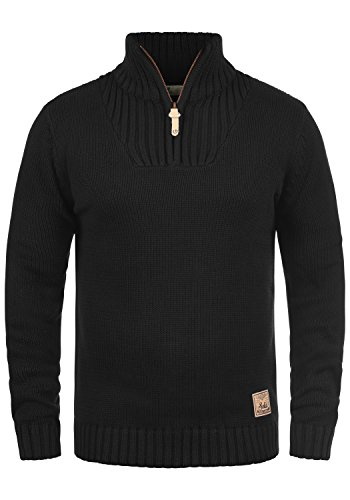 !Solid Petro Herren Winter Pullover Strickpullover Troyer Grobstrick mit Stehkragen und Reißverschluss, Größe:L, Farbe:Black (9000)