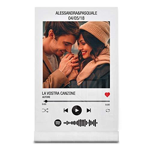 Babloo Targa Musica Personalizzata con Foto Nomi e Canzoni Stampa UV su Plexiglass Acrilico Trasparente con codice Spotify scansionabile Idea Regalo San Valentino per fidanzati (13X20cm)