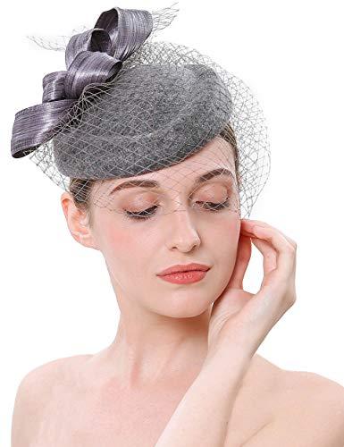 Coucoland Fascinators - Tocado de lana para mujer, elegante, estilo nudo, para...