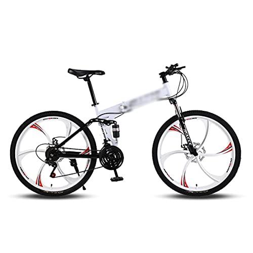 Bicicletas de montaña Plegables 21/24/27 velocidades Freno de Disco Doble Suspensión Delantera 26 Pulgadas Bicicleta Antideslizante para Hombre Mujer Adolescente (tamaño: 24 velocidades, Color: Rojo)