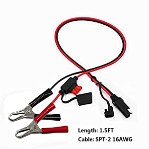 SPARKING 1.5FT Battery Alligator Clip to SAE Quick Disconnect Cable SAE to Battery Clamp Cable 7.5A Fuse