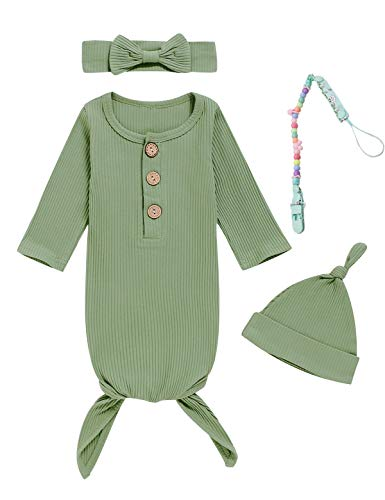 Dramiposs 4Pcs Newborn Girls Boys Nightgowns Infant Sleepwear Long Sleeve Outfit with Pacifier Clip (Green, 0-3 Months)