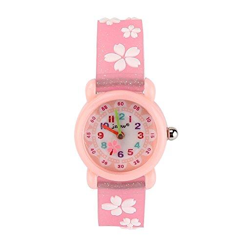 JIAN YA NA Mädchen Kinder Uhr-wasserdicht 3D netten Karikatur-Entwurf-runde Vorwahlknopf-Silikon-Gummi-Gelee-Farben-Uhr-Band Quarz-Armbanduhr Ca Pinke Blume