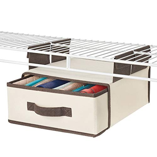 mDesign Soft Fabric Over Closet Shelving Hanging Storage Organizer with Removable Drawer for Closets in Bedrooms, Hallway, Entryway, Mudroom - Cream with Espresso Brown