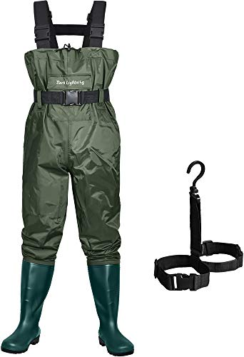 Dark Lightning Fly Fishing Waders for Men and Women with Boots, Mens/Womens High Chest Wader with Boot Hanger (Green, M10/W12)