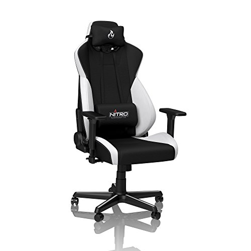 NITRO CONCEPTS S300 Gamingstuhl - Ergonomischer Bürostuhl Schreibtischstuhl Chefsessel Bürostuhl Pc Stuhl Gaming Sessel Stoffbezug Belastbarkeit 135 Kilogramm - Radiant White (Weiß)