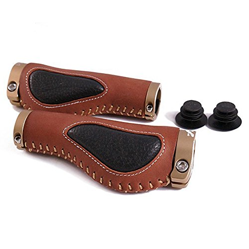 Propalm 1900LEO Hand-Made Ergonomic Leather Gel Bike Bicycle Handlebar Grips Brown Color