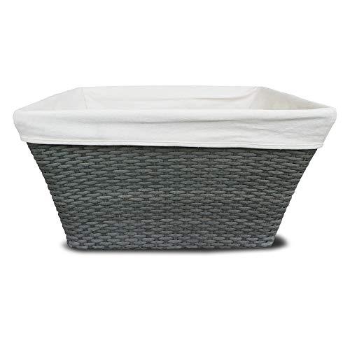 Habau Vorratskorb aus Polyethylen mit Metallrahmen, Geflecht, grau, 59 x 42 x 32,5 cm