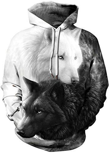 OLIPHEE Jungen Kapuzenpullover 3D Druck Hoodies Pullover mit Kapuze Hip Hop Weihnachten Sweatshirts Kapuzenpulli Schwarz Weiß Wolf L/XL