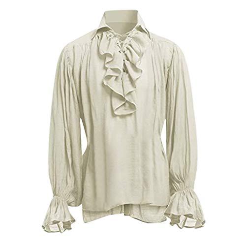 Hstore Men's Renaissance Ruffle Front Pirate Shirt Bandage Long Sleeve Medieval Shirt Gothic Man Blouse Beige