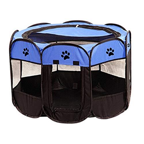 Xiaohua Parque para Perros Plegable Portátil Sala De Entrega De Perros A Prueba De Agua Mascota Perro Gato Cerca Valla Resistente Octágono Perreras Parque Carpa Jaula Casa M 58x90cm Azul Celeste
