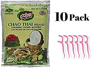 Chao Thai Coconut Milk Cream Powder 60 G/2.0 Oz (10 pack) Bundled with 20ct Dental Flossers in a Prime Time Direct Sealed Bag