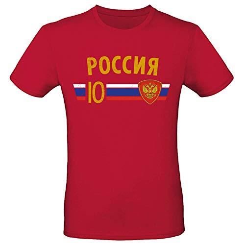 Shirt-Panda Fußball WM T-Shirt · Fan Artikel · Nummer 10 · Passend zur Weltmeisterschaft · Nationalmannschaft Länder Trikot Jersey für 2022 · Herren Damen Kinder · Russland Rusia Russia L