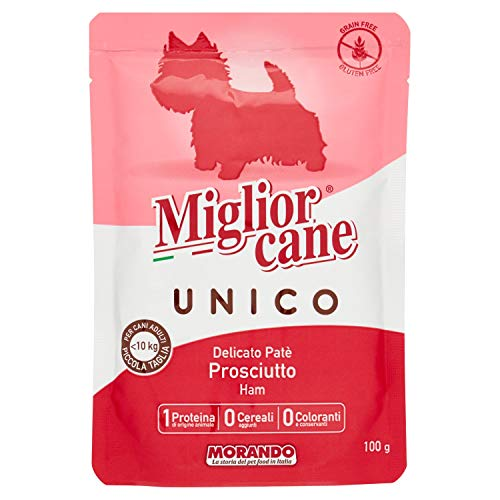 Migliorcane Unico 100% Prosciutto, Cibo Cani, 48 x 100g