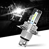 H4/HS1 LED Lampadina per Moto, Lampada Abbaglianti e Anabbaglianti, 18W 1600LM Lampada Sostituzione per Alogena, AC e DC 12V, Xenon Bianco 6500K, 1 Confezione