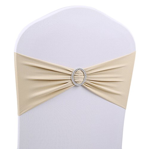 50 PCS Stretch Wedding Chair Cover Band With Buckle Wedding Party Decoration,Champagne