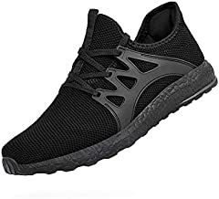 ZOCAVIA Mens Running Tennis Work Shoes Slip On Resistant Sneakers Lightweight Breathable Athletic Fashion Zapatos Gym Sport Non Slip Casual Walking Shoes for Men Black 8