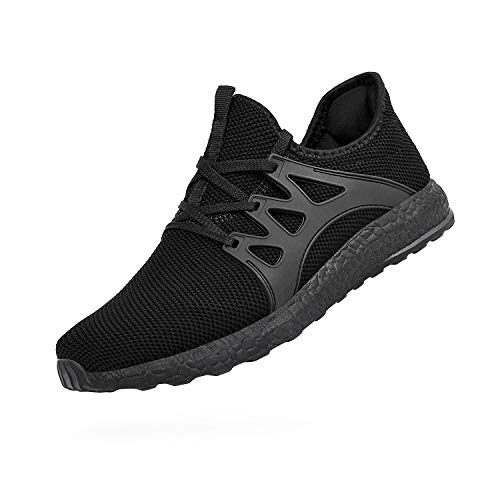 ZOCAVIA Mens Running Tennis Work Shoes Slip On Resistant Sneakers Lightweight Breathable Athletic Fashion Zapatos Gym Sport Non Slip Casual Walking Shoes for Men Black 6