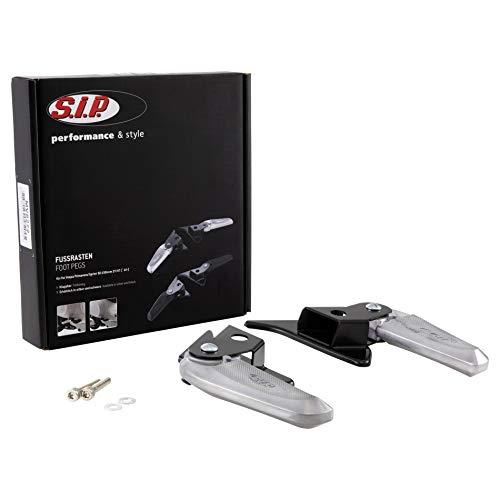 Fußrasten SIP für Vespa Prim. avera/Sprint 50-150ccm 2T/4T AC Aluminium, schwarz/Silber, klappbar