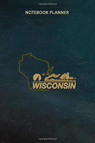 Notebook Planner Wisconsin License Plate Wi Outline Black Swea: 6x9 inch, Do It All, Planning, Finance, Schedule, Over 100 Pages, Daily Journal, Daily