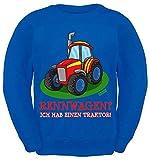 Hariz - Sudadera, diseño de coche de carreras con tractor y tarjeta de regalo azul real 8 años