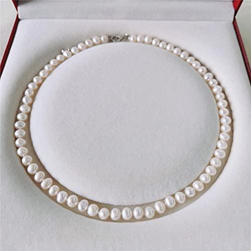 GoodLuck Collar de Perlas de Agua Dulce 6-7 mm Joyas de Perlas de Hilo Natural Cerca de Collar de Perlas Redondas para Mujer