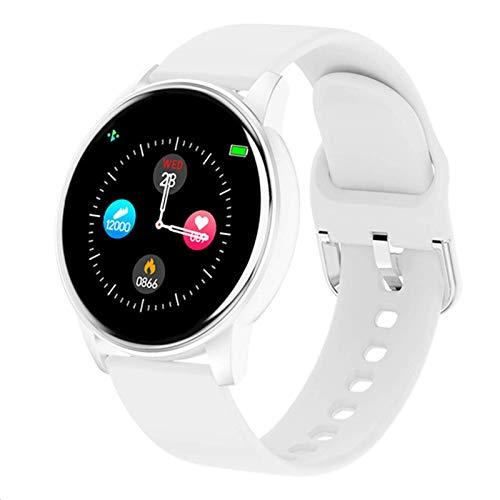 Reloj inteligente para mujer en tiempo real, previsión meteorológica, monitor de frecuencia cardíaca, reloj deportivo para hombres para Android iOS (color: blanco, tamaño: pantalla táctil completa)